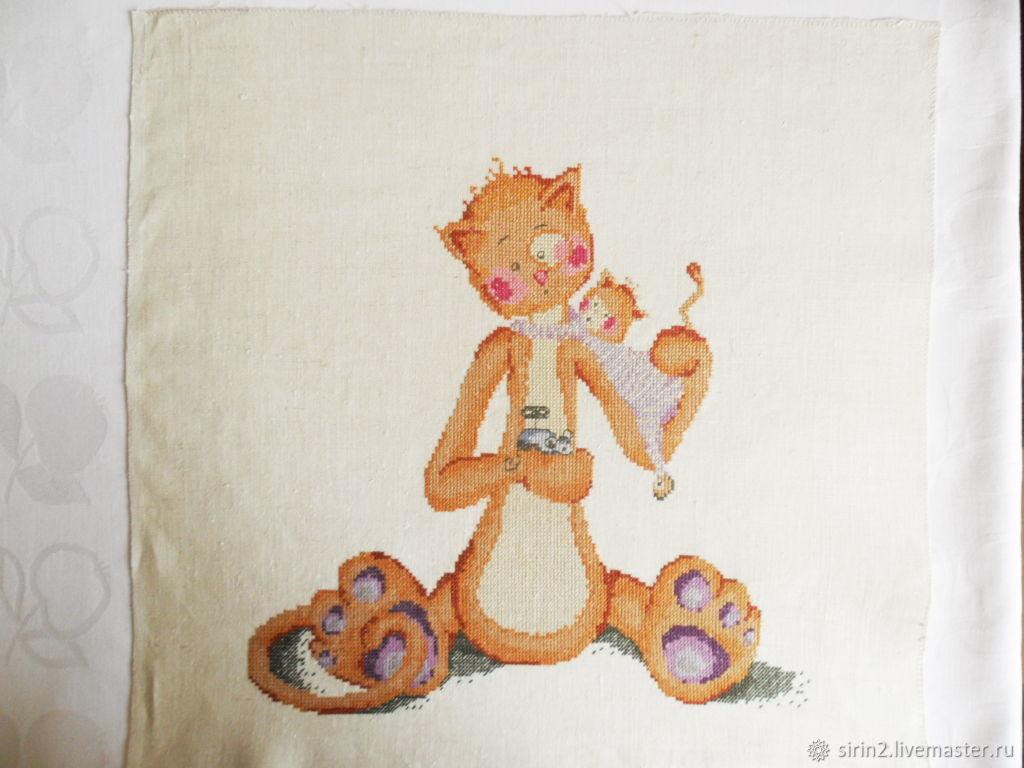 Ручная вышивка без оформления Кот с игрушками для детской комнаты
