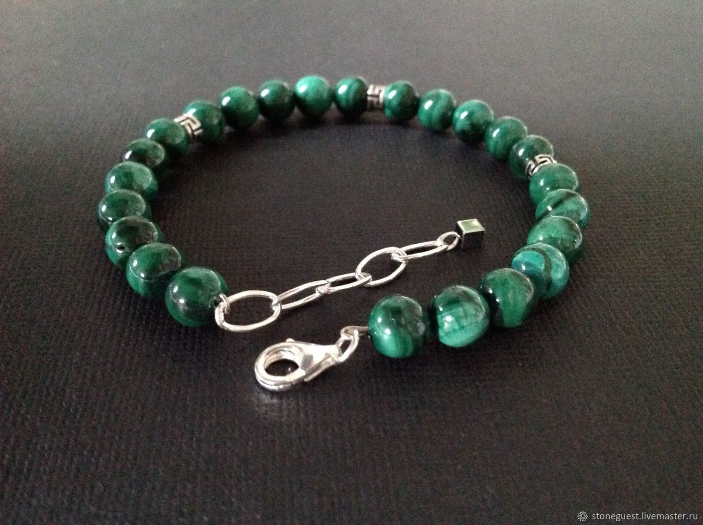 Men bracelet silver and malachite. Reserve, Rosary bracelet, Moscow,  Фото №1