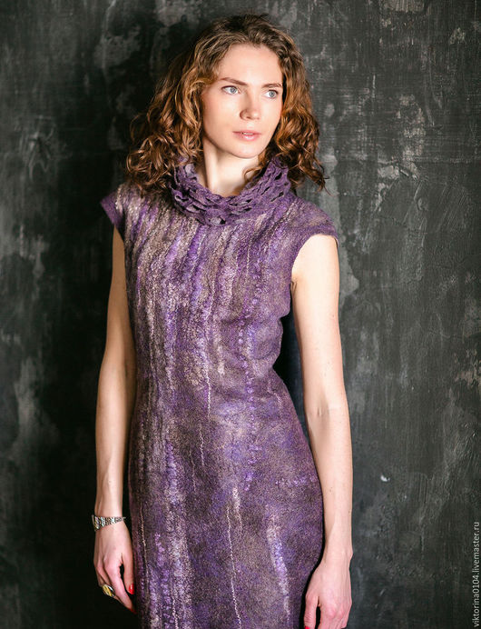 """Платья ручной работы. Ярмарка Мастеров - ручная работа. Купить Платье """" Сиреневый дождь"""""""". Handmade. Комбинированный, меринос"""