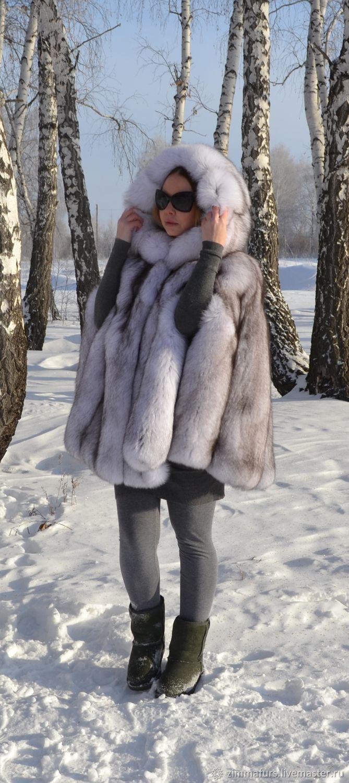 Outer Clothing handmade. Livemaster - handmade. Buy Poncho. Cape. Fur volevogo Fox. Hooded.White, real fur