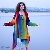 Одежда ручной работы. Ярмарка Мастеров - ручная работа Кардиган - пуловер из кауни Вязаный трансформер Большие размеры. Handmade.
