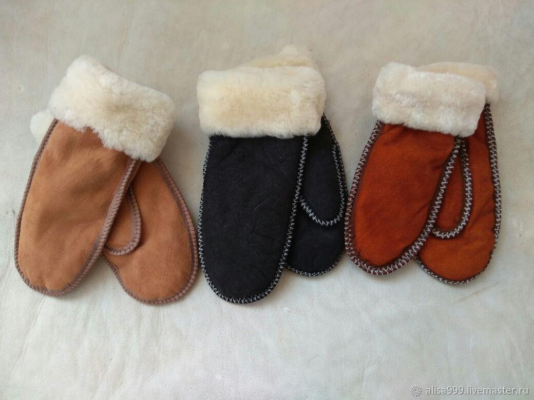 Women's mittens sheepskin, Mittens, Moscow,  Фото №1