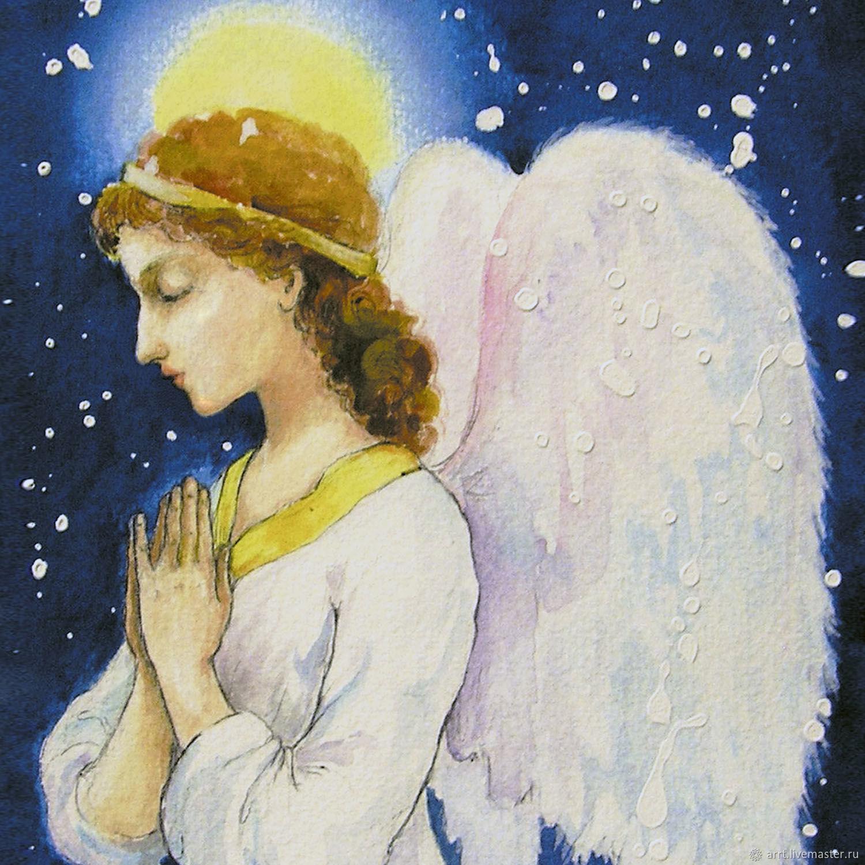 Ангел молится Авторская Открытка на Рождество, Открытки, Санкт-Петербург,  Фото №1