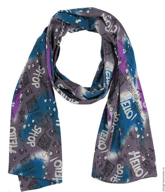 Шарф-кашне `Четыре сезона` -3 / Двойной шарф-кашне комбинированный из однотонного и набивного трикотажа