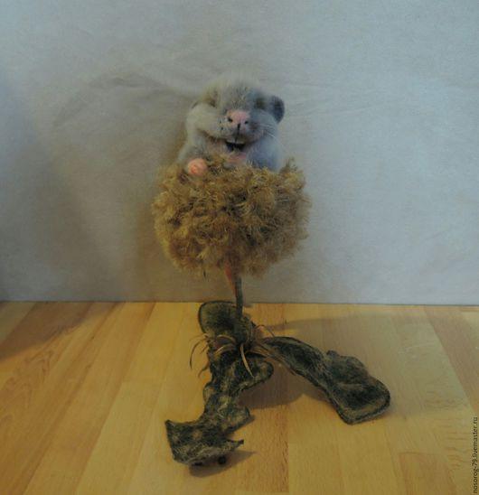 Игрушки животные, ручной работы. Ярмарка Мастеров - ручная работа. Купить Мышонок на цветке. Handmade. Комбинированный, Сухое валяние, лак