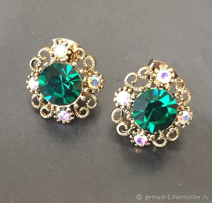 Studs for jewelry art. 1-21 with emerald crystal, Accessories4, Moscow,  Фото №1