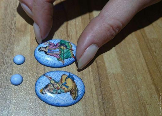 Серьги ручной работы. Ярмарка Мастеров - ручная работа. Купить Вставки для сережек финифь. Handmade. Разноцветный, финифть, оригинальное украшение