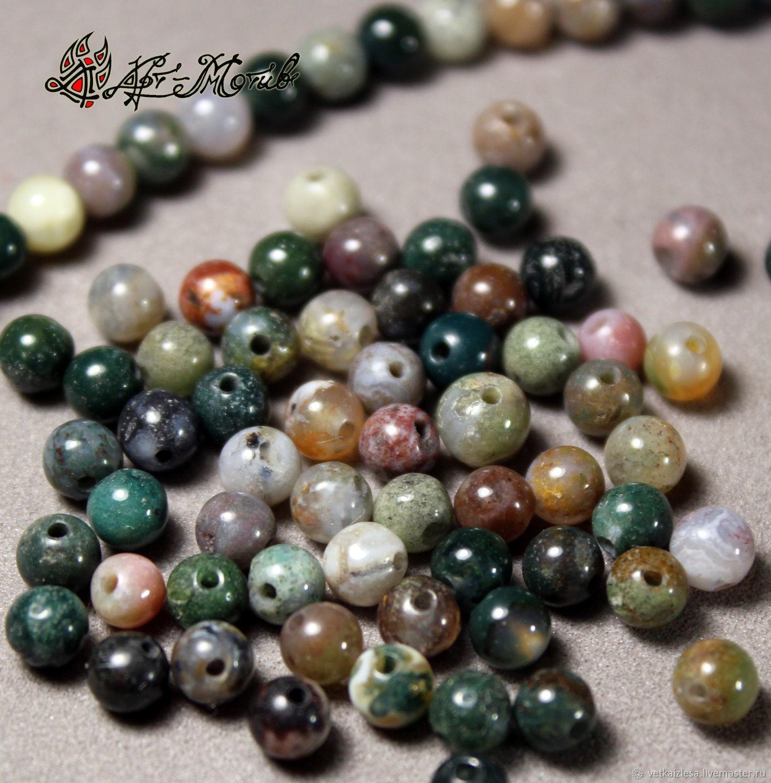 Ocean Jasper beads, 4 mm beads smooth (natural stone)