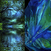 """Одежда ручной работы. Ярмарка Мастеров - ручная работа пончо """"Синий лес"""". Handmade."""
