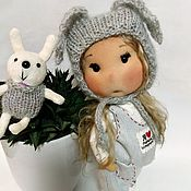 Куклы и игрушки handmade. Livemaster - original item Play doll in a hat-bunny with a set of clothes. Handmade.