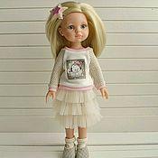 Одежда для кукол ручной работы. Ярмарка Мастеров - ручная работа Набор для куколки 29 свитшот +юбочка +туфельки +носки +заколка. Handmade.