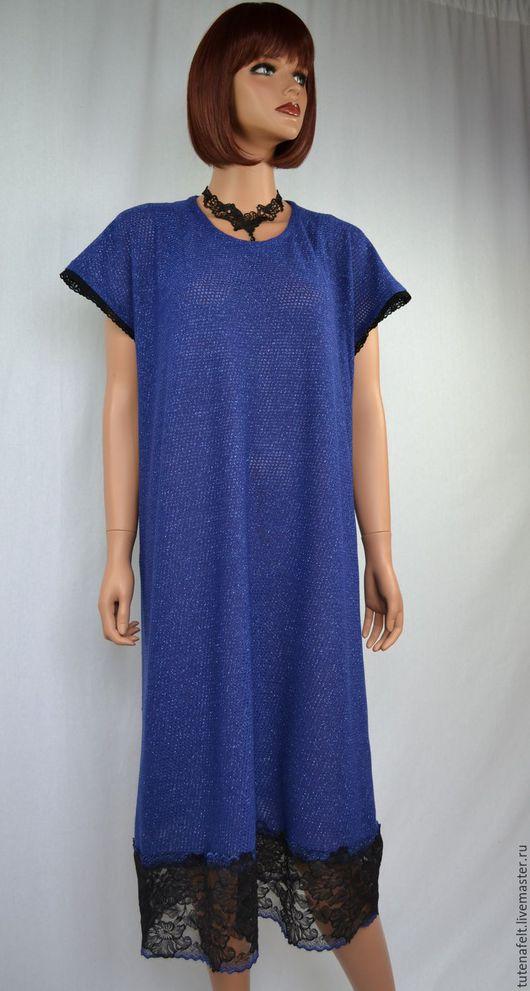 """Большие размеры ручной работы. Ярмарка Мастеров - ручная работа. Купить Платье-туника    """"Beau bleu """". Handmade."""