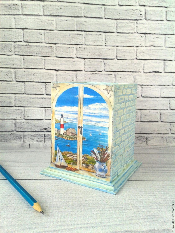 Карандашница Вид на море, в технике декупаж, Карандашницы, Курган,  Фото №1