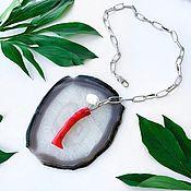 Украшения handmade. Livemaster - original item Pendant with red coral and Baroque pearls. Handmade.