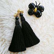 Украшения ручной работы. Ярмарка Мастеров - ручная работа Серьги-кисти черного цвета. Handmade.