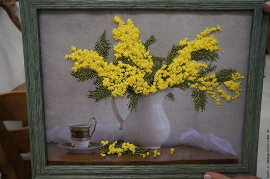 Картины цветов ручной работы. Ярмарка Мастеров - ручная работа. Купить Картина Мимоза(вышита лентами). Handmade. Комбинированный, весна, мимоза