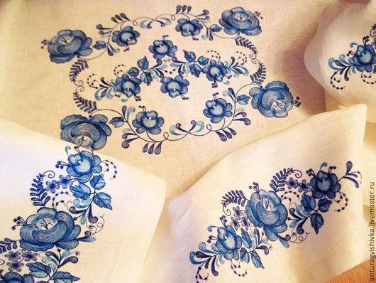 Вышитая скатерть, Скатерть с вышивкой, Текстиль для интерьера Текстиль с вышивкой, Скатерть в стиле Гжель