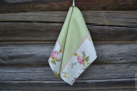 """Кухня ручной работы. Ярмарка Мастеров - ручная работа. Купить Льняное полотенце для кухни """"Розы"""". Handmade. Полотенце, полотенце льняное"""