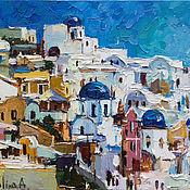 """Картины и панно handmade. Livemaster - original item """"Санторини . Греция """". Морской пейзаж маслом. Handmade."""