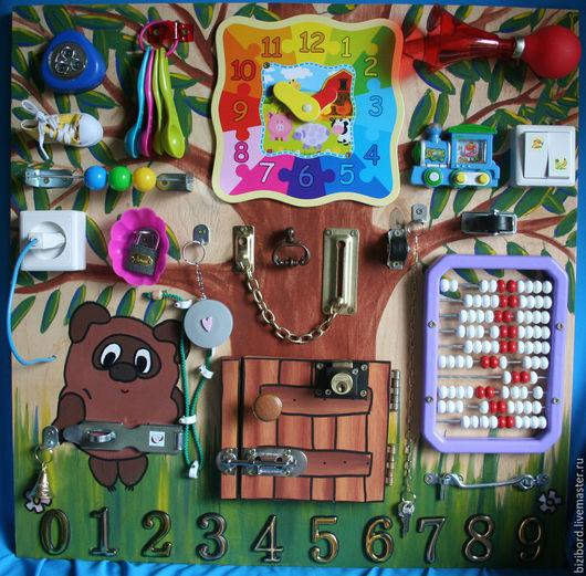 """Развивающие игрушки ручной работы. Ярмарка Мастеров - ручная работа. Купить Развивающая доска (бизиборд) для детей """"Винни-Пух"""". Handmade."""