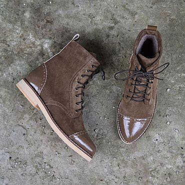 Обувь ручной работы. Ярмарка Мастеров - ручная работа Ботинки комбинированные светлые. Handmade.