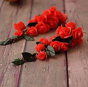 """Серьги """" Красные розы"""""""