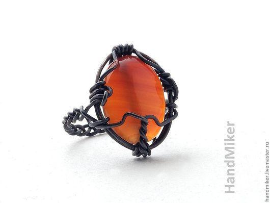 """Кольца ручной работы. Ярмарка Мастеров - ручная работа. Купить Перстень """"Ключ пламени"""". Handmade. Пламя, перстень, янтарный цвет"""