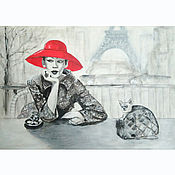 Картины и панно handmade. Livemaster - original item Painting the girl in the red hat, Paris, black and white. Handmade.
