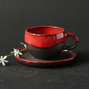 Посуда ручной работы. Ярмарка Мастеров - ручная работа Гончарная кофейная пара из черной глины. Handmade.