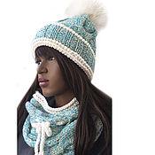 Аксессуары handmade. Livemaster - original item Hat set with pompom and snood Riviera. Handmade.