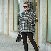 Одежда handmade. Livemaster - original item Italian wool coat oversize grey check size 52-60. Handmade.