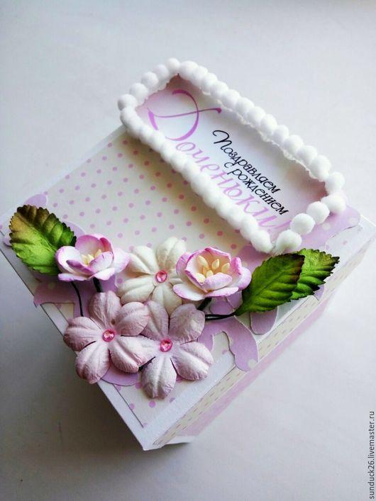 Детские открытки ручной работы. Ярмарка Мастеров - ручная работа. Купить Magic Box для новорожденного (для девочки). Handmade. Розовый