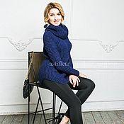 Одежда ручной работы. Ярмарка Мастеров - ручная работа Шерстяной удлиненный свитер крупной вязки синий. Handmade.