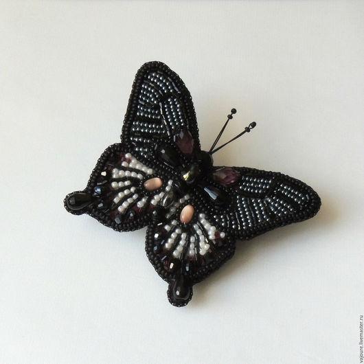 """Броши ручной работы. Ярмарка Мастеров - ручная работа. Купить Брошь бабочка """"Черный парусник"""". Handmade. Чёрно-белый, к платью"""