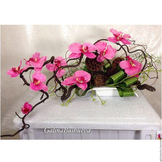 """Интерьерные композиции ручной работы. Ярмарка Мастеров - ручная работа. Купить """" Радостное утро""""   интерьерная композиция с орхидеями.. Handmade."""