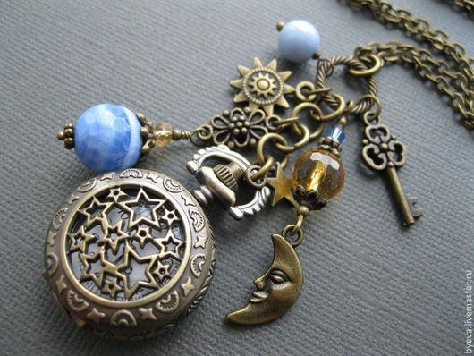 """Часы ручной работы. Ярмарка Мастеров - ручная работа. Купить Часы кулон (медальон, карманные) с цитрином и агатом """"День и ночь"""". Handmade."""
