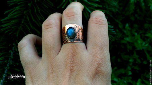 """Кольца ручной работы. Ярмарка Мастеров - ручная работа. Купить Кольцо с лабрадором """"Aurora borealis"""".. Handmade. Синий, голубой камень"""