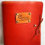 Канцелярские товары ручной работы. Ярмарка Мастеров - ручная работа Кожаная оранжевая тетрадь на кольцах. Handmade.