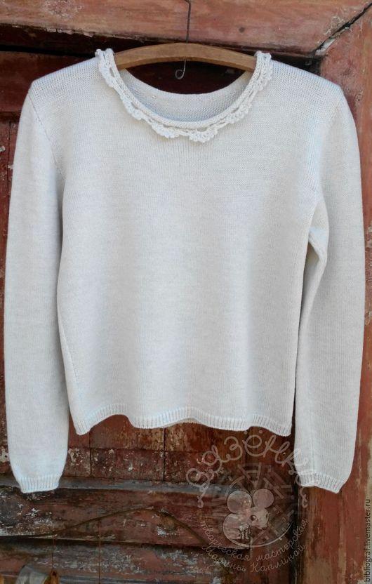 Кофты и свитера ручной работы. Ярмарка Мастеров - ручная работа. Купить Пуловер женский с кружевным воротничком. Handmade. Белый