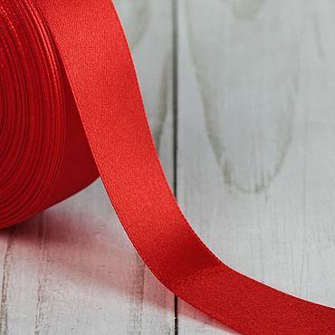 Материалы для творчества ручной работы. Ярмарка Мастеров - ручная работа Красная атласная лента, 25 мм, 2 метра. Handmade.