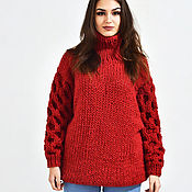 Одежда handmade. Livemaster - original item Women`s knitted sweater with pattern on sleeves red. Handmade.