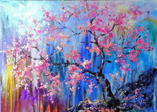 """Пейзаж ручной работы. Ярмарка Мастеров - ручная работа. Купить """"Ты - Цветущее Дерево"""" - картина маслом сакура. Handmade. Бирюзовый"""