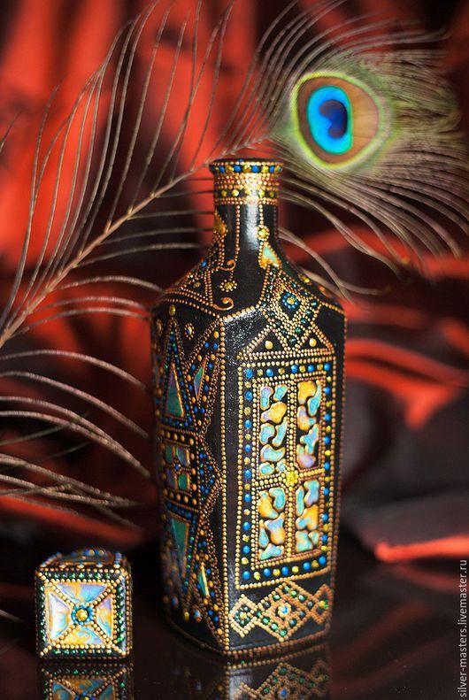 """Вазы ручной работы. Ярмарка Мастеров - ручная работа. Купить Графин """"Золото Бухары"""". Handmade. Черный, стеклянная ваза"""