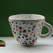 Посуда ручной работы. Ярмарка Мастеров - ручная работа Чашка Белая Многоцветная. Handmade.