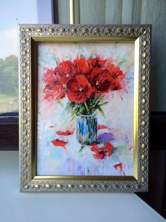 Картины цветов ручной работы. Ярмарка Мастеров - ручная работа. Купить Тюльпаны. Handmade. Цветы, натюрморт с цветами, масло