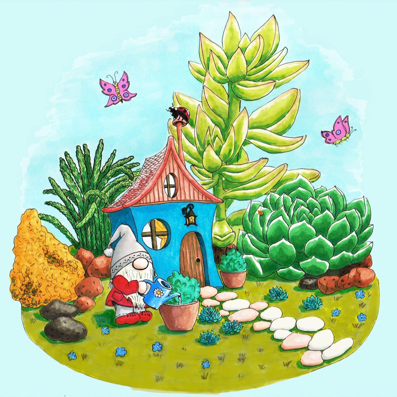 Гном-садовник. Спиртовые маркеры, Иллюстрации, Санкт-Петербург,  Фото №1