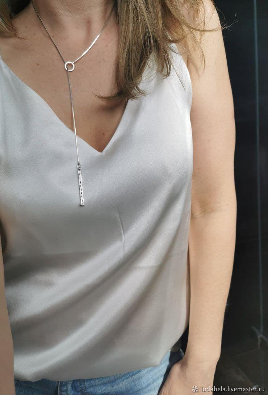 Винтаж: Необычного дизайна цепь с кулоном Родированное серебро 925 Циркон, Колье винтажные, Геттинген,  Фото №1