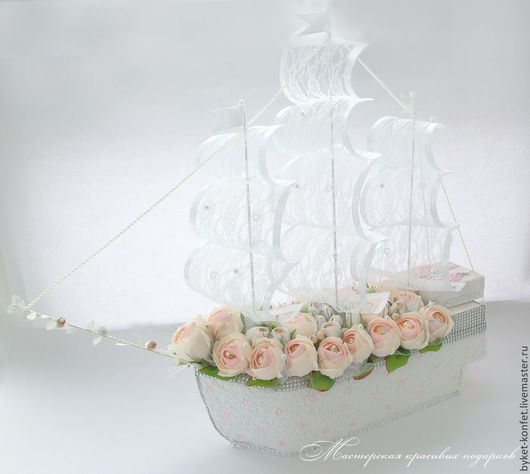Персональные подарки ручной работы. Ярмарка Мастеров - ручная работа. Купить Конфетный Корабль ''Нежные просторы''. Handmade. Корабль, розовый