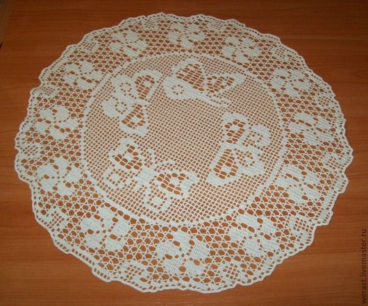 """Текстиль, ковры ручной работы. Ярмарка Мастеров - ручная работа. Купить салфетка """"Бабочки-подружки"""". Handmade. Белый, салфетка крючком"""