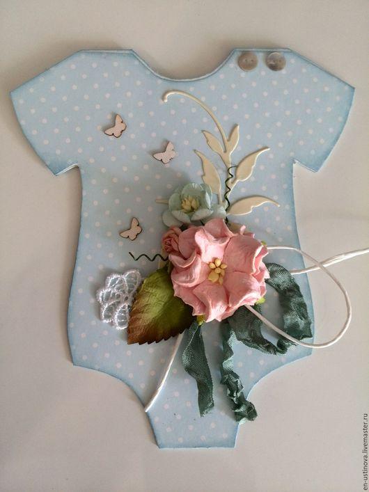 Персональные подарки ручной работы. Ярмарка Мастеров - ручная работа. Купить Открытка на рождение мальчика (малыша). Handmade. Голубой